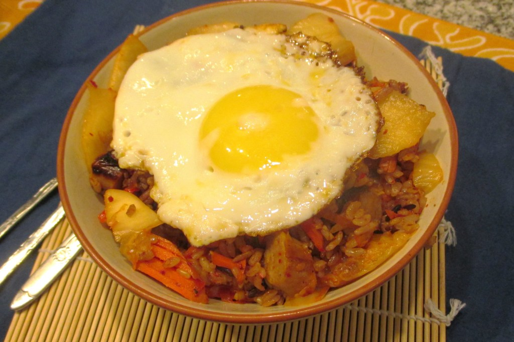 kimchi rice with an egg