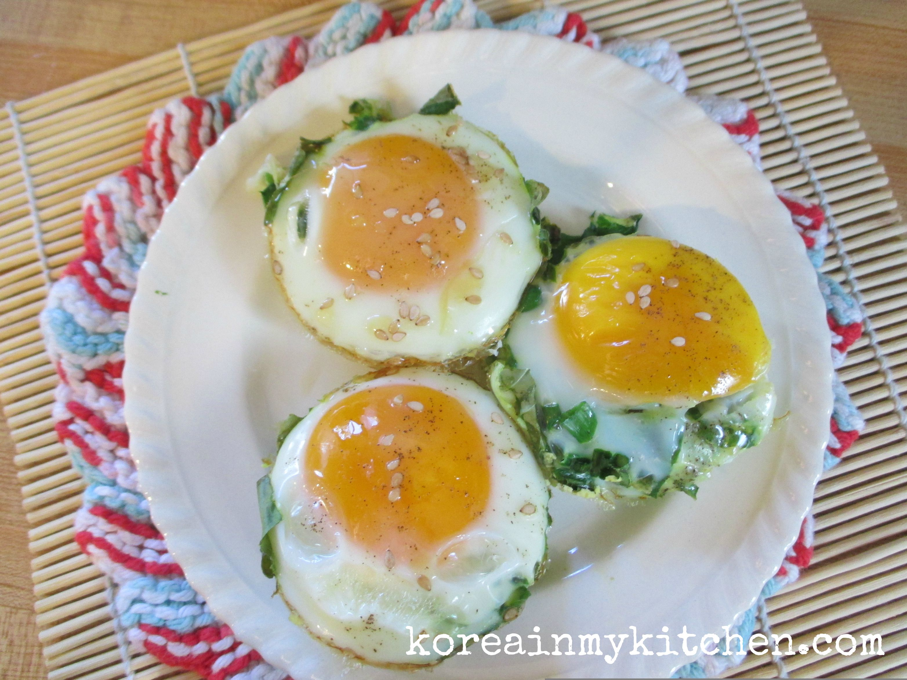 Baked seame spinach egg