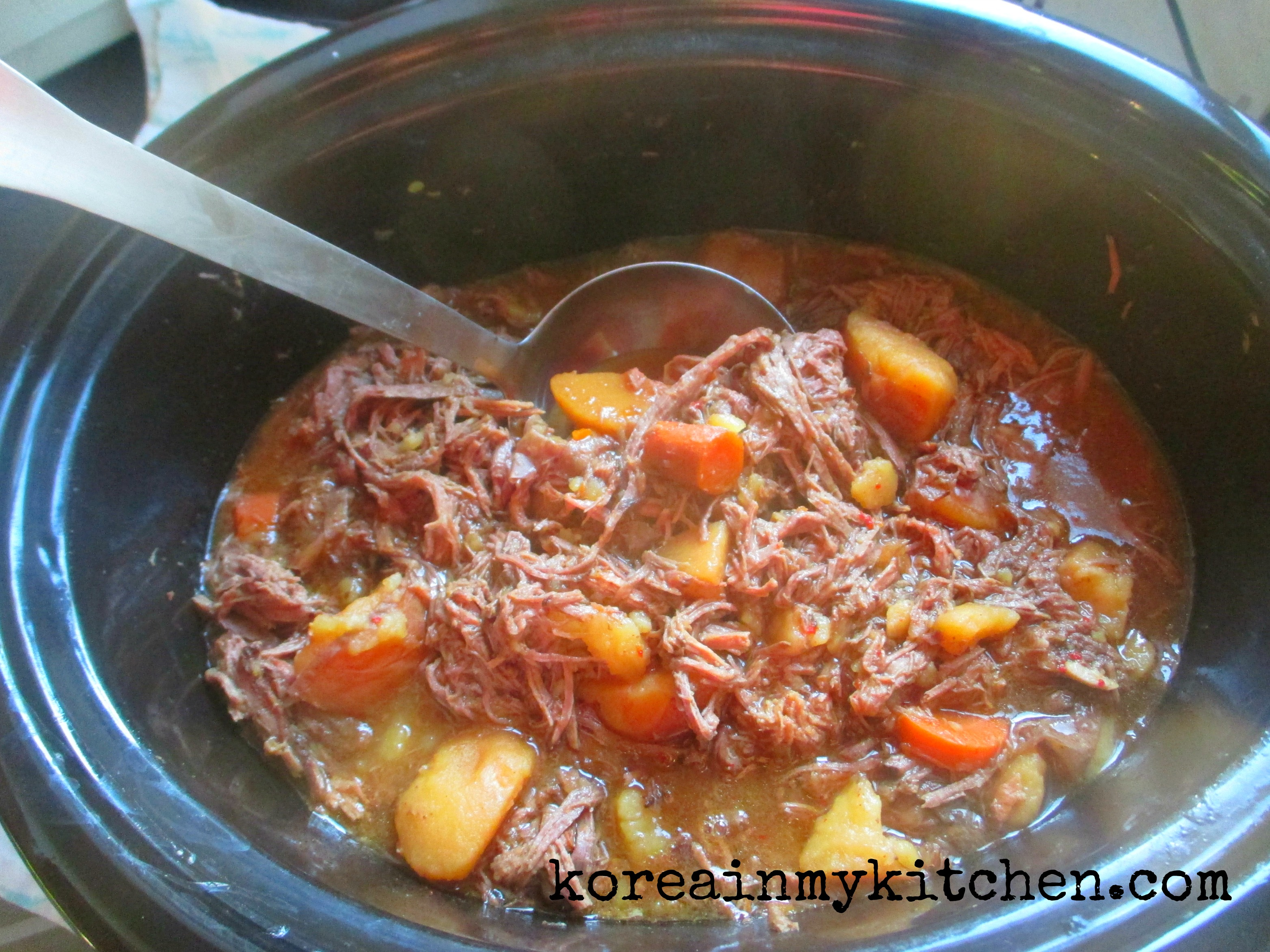 Slow cooker Korean beef roast stew